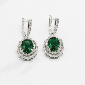 Image 4 - Green Crystal Silver Color Bridal Jewelry Sets For Women Necklace Pendant Bracelets Earrings Rings Gift Box