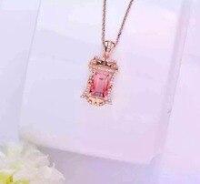 2016 Summer Romantic 18K Rose Gold 3 152ct Tourmaline Natural Diamond Setting Necklace Pendant Fine Jewelry