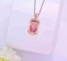 2016 Summer Romantic 18K Rose Gold 3.152ct Tourmaline Natural Diamond Setting Necklace Pendant Fine Jewelry Factory Direct