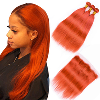 Sapphire Pre Colored Light Orange Brazilian Hair 3 Bundles With 13*4 Lace Frontal Deals 100% Human Hair Weave with Lace Frontal