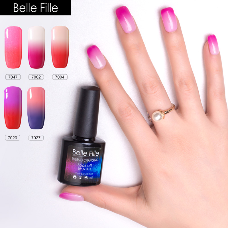 BELLE FILLE Thermo Color Change Soak Off UV Gel Nail Polish UV LED Nail Gel Summer