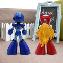 "2 sets/lot 4"" Mega Man Figure Toy Megaman Rockman Blue 016 Red 017 Rokkuman Model Dolls Anime Figure Nendoroid Actions Figure"