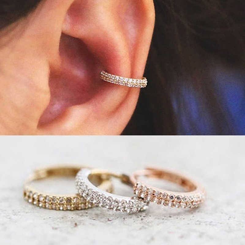 1 Pair Silver / Gold / Rose Gold Color Rhinestone Smalle Small Earring Snug Piercing  Cartilage Earring