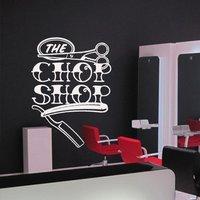 Hair Salon Vinyl Wall Decal Scissors Shaver Hairdresser Salon Hair Beauty Master Barber Shop Chop Wall Sticker Shop Decoration