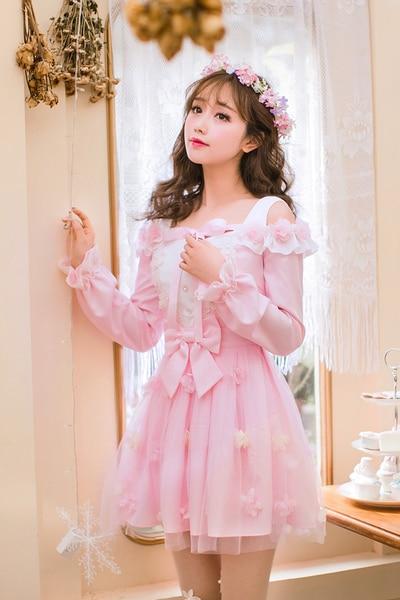 Princess Sweet Lolita Dress Candy Rain  New Japanese Sweet Chiffon Dress Female Long Sleeved Collar Princess Dress C22AB7003