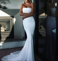 Mermaid White Evening Dress Strapless Simple Elegant Formal Gowns Long Robe De Soiree SAU460