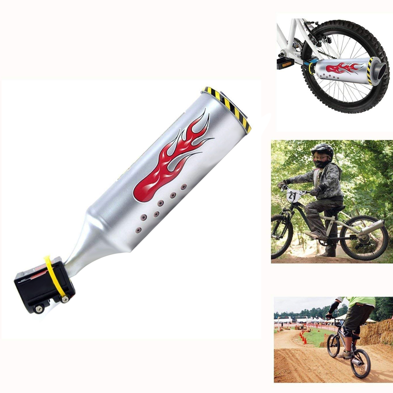 Bicycle Exhaust Sound System With 6 Adjustable Turbo Motorcycle Sound,Childrens Motor Sound Bike Engine Cycling Accessory