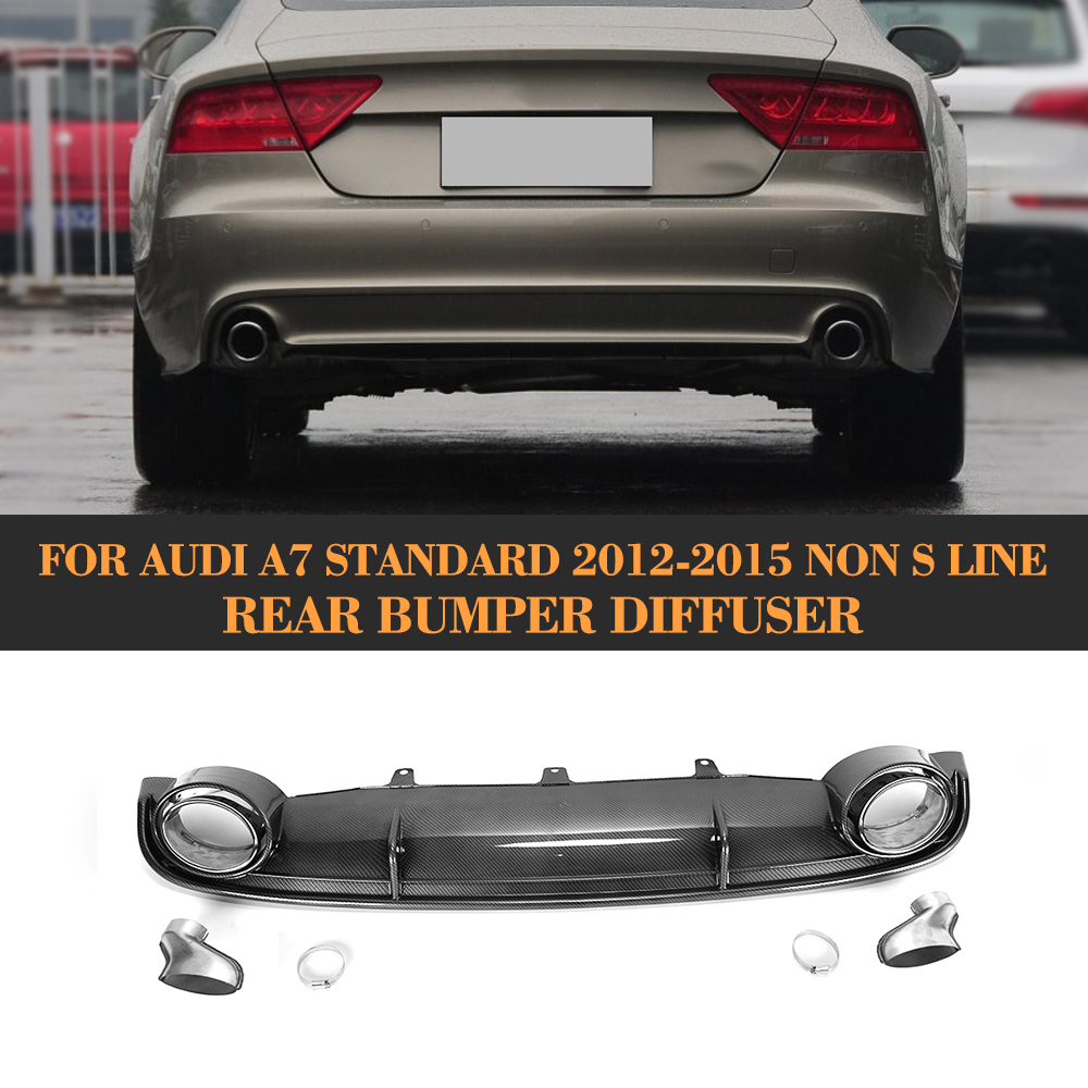 Fake carbon fiber <font><b>rear</b></font> bumper lip Spoiler <font><b>diffuser</b></font> With Exhaust for <font><b>Audi</b></font> <font><b>A7</b></font> Standard Hatchback 4 Door 12-15 FRP image