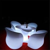 Современные Цвет изменение аккумуляторная полиэтиленовой подсветкой led барный стул дистанционный пульт подлокотник светящиеся спинки