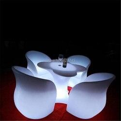 Moderne Kleur veranderende oplaadbare PE plastic verlichte led bar stoel afstandsbediening armsteun gloeiende rugleuning