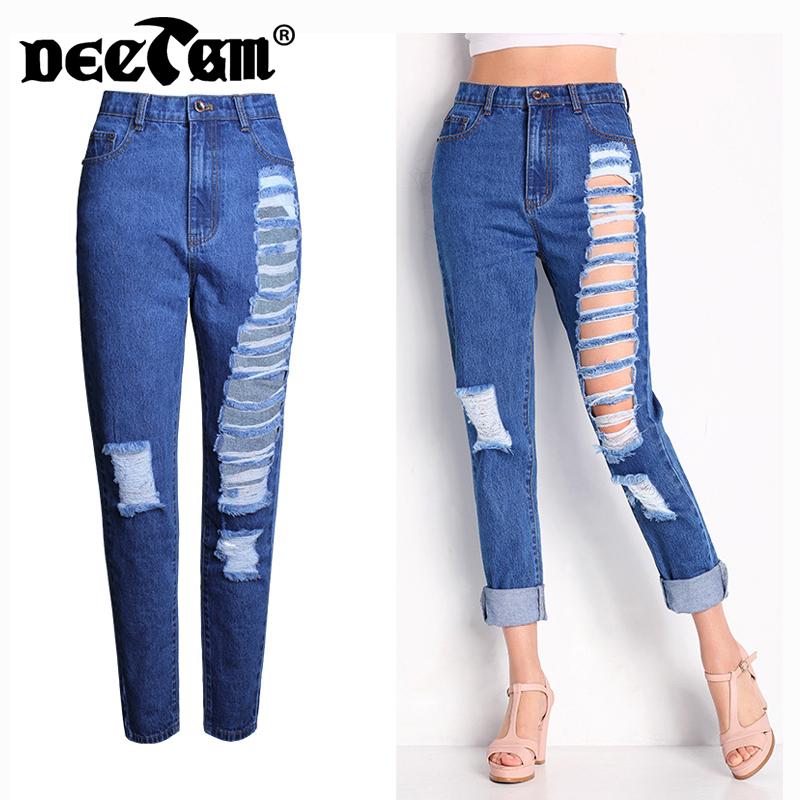 Fashion Ripped Jeans for Women Plus Size Boyfriend Jeans Woman Pants Ankle Length Denim Loose Straight Pants High Waist Jeans loose ankle length jeans for women 2017 new vintage distressed high waist ripped denim harem pants woman trousers plus size