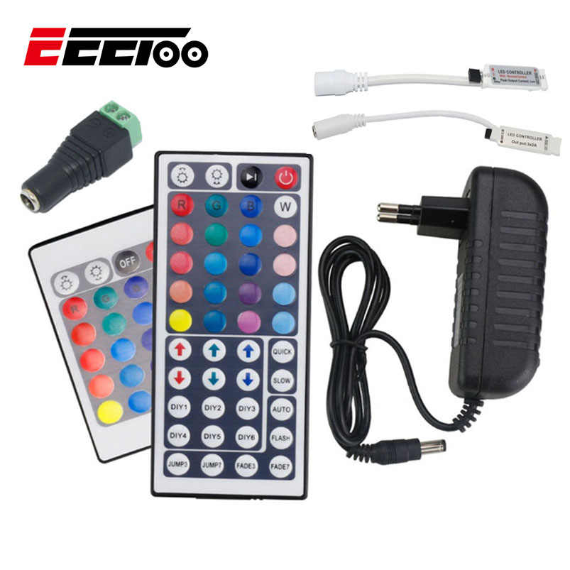 Aksesoris Strip DIPIMPIN RGB Remote Controller Power Supply 2A 3A UNI EROPA US Plug Pencahayaan Adapter Converter Charger Untuk Led Strip cahaya
