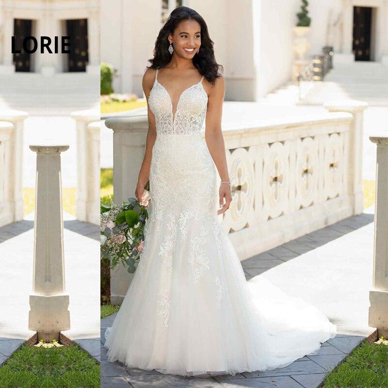 LORIE Mermaid Wedding Dresses V Neck Open Back Summer Wedding Bridal Elegant Lace Appliques Bridal Gowns