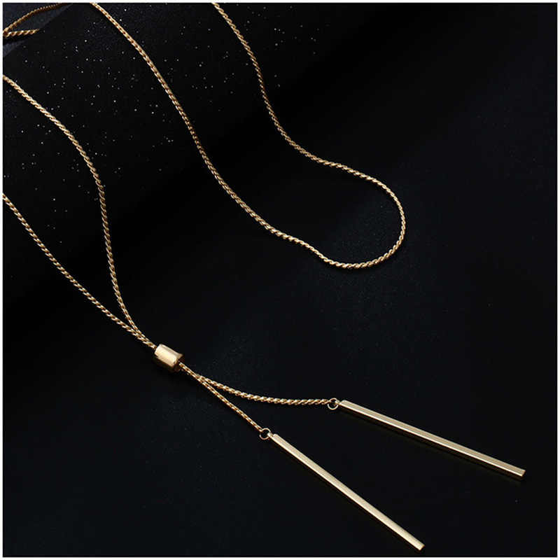 2019 Fashion Long Necklaces For Women Gold Tassel Pendant Sweater Necklace Kolye Metal Link Chain Fashion Jewelry collier femme