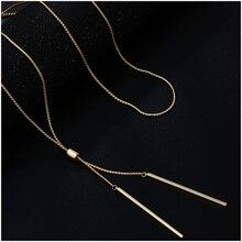2019 collares largos de moda para mujer collar de suéter con borlas doradas cadena de eslabones de Metal Kolye joyería de moda collier femme