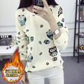 3xl plus big size women spring autumn winter 2016 feminina cute sweet cartoon plus velvet sweatshirts female students A1772