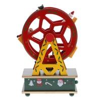 Christmas Mini Ferris Wheel Music Box Kids Xmas Toy Gift Wind Up Clockwork Toys Xmas Gift Ornament Decor Round