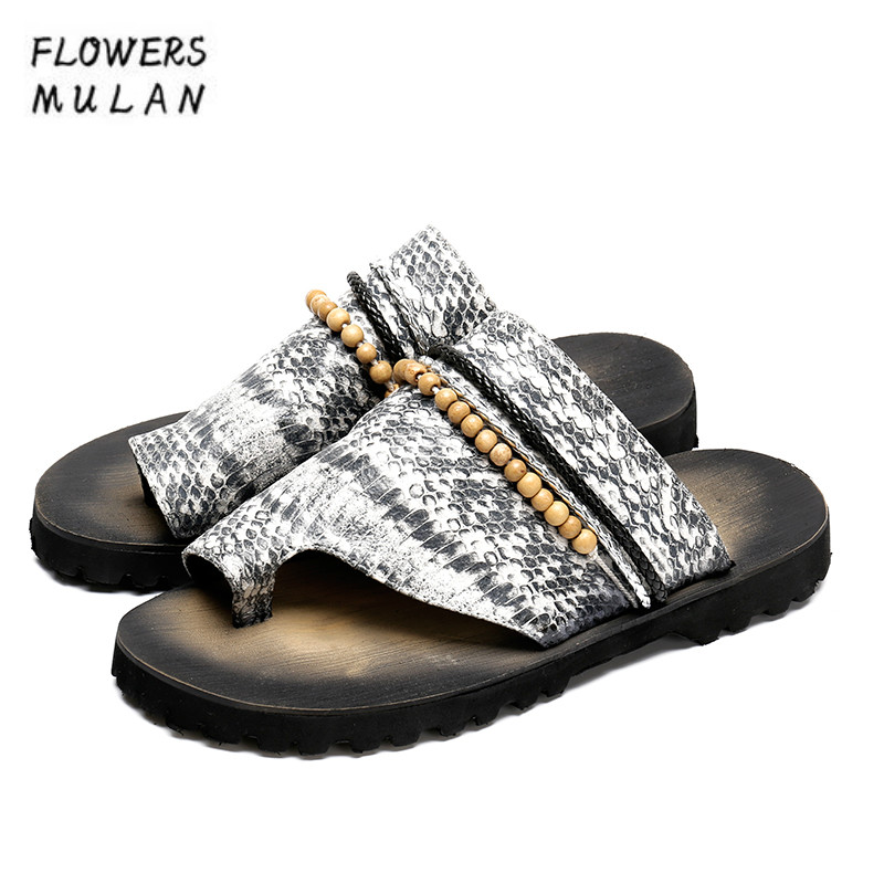 Summer New Fashion Snake Leather Men Slides Mixed Color Thong Sandals Beading Rope Flip Flops Beach Shoes No-Slip Flat Zapatos 6inch screen lcd for ritmix rbk 750 without touch panel display matrix free shipping