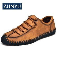ZUNYU 2019 New Fashion Style Leather Spring Casual Shoes Men Handmade Vintage Loafers Flats Hot Sale Moccasins Big Size 38-48