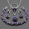 Llamativo Mujeres Joyería de Plata de ley 925 de Cuatro Piezas, Juego, Ronda Amethyst Púrpura Pendiente Colgante Collar Pulsera Anillo JS82
