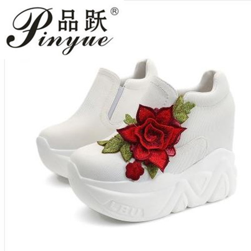 2018 New Women Vulcanize Shoes Vintage Lace Up High Heel Wedge Platform  Women Shoes Leisure Girls Woman Footwear Black White-in Women s Pumps from  Shoes on ... 2cb8794ba662