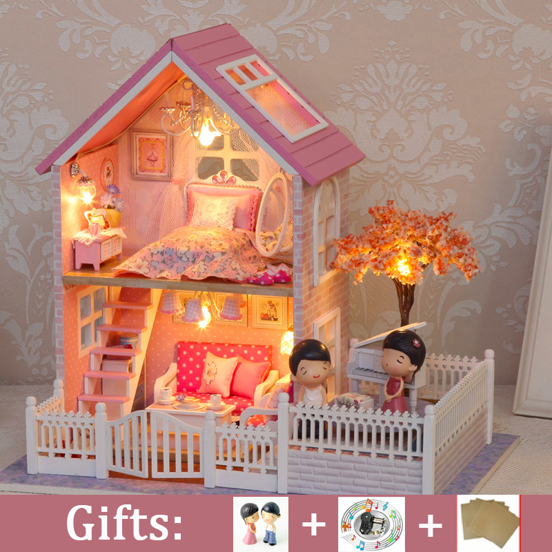 DIY Large Doll house Miniature DollHouse Model PINK CHERRY BLOSSOMS with Dust Cover Wooden Toys Girl Birthday Christmas Gift wooden dollhouse diy miniature house seattle villa big doll house with car and dust cover toys for girl birthday gift christmas