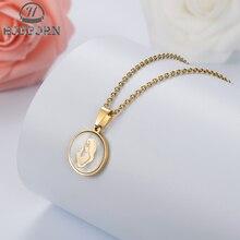 HOBBORN Trendy Women Religious Necklace Jesus Virgin Mary Stainless Steel Chain Shell Pendants & Necklaces Jewelry Bijoux