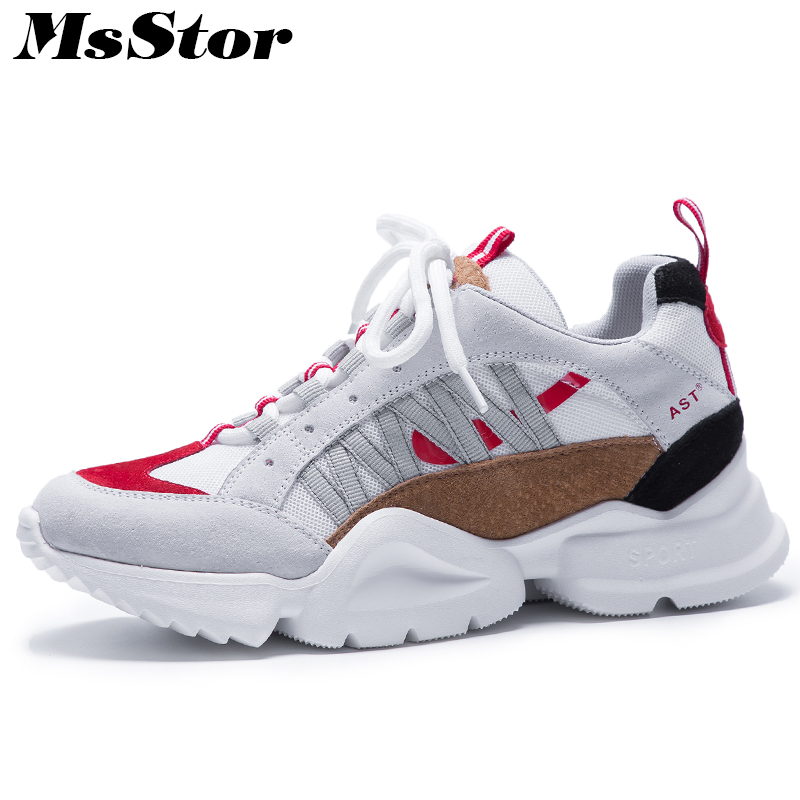 MsStor Round Toe Lace Up Shoes Woman Casual Fashion Mixed Colors Ladies Shoes Platform Shoes Sneakers Flat Shoes Women Flats
