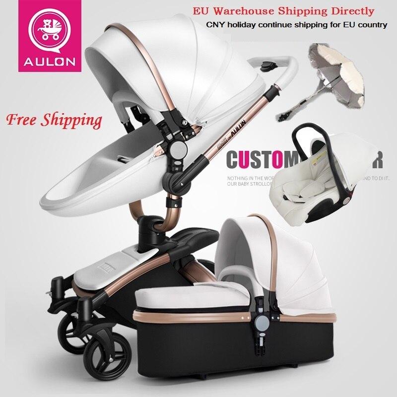 Envío Gratis Aulon/querida ningún impuesto de lujo cochecito de bebé 3 en 1 de transporte europeo cochecito traje para mintiendo y asiento