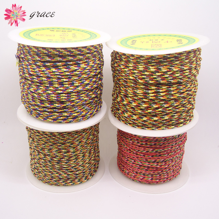 80m/lots 1mm/1.5mm Rainbow Colorful Nylon Polyester Braid Cotton ...