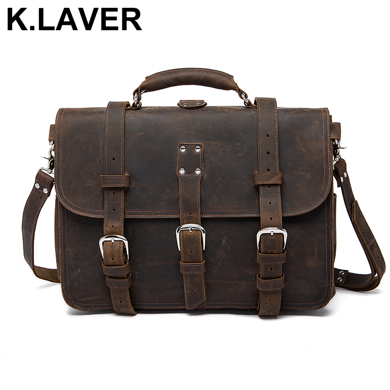 Business Men Briefcase Handbags Crazy Horse Genuine Leather Men's Messenger Bag Male Shoulder Travel Totes Laptop Crossbody Bags vintage genuine leather men briefcase bag business men s laptop notebook high quality crazy horse leather handbag shoulder bags