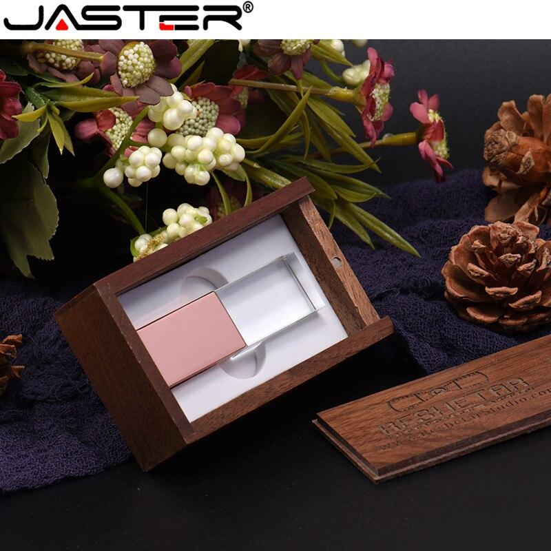 JASTER USB 2.0 GB GB 16 8 4GB GB 64 32GB Personalizado flash drive de cristal + caixa de madeira usb flash drive