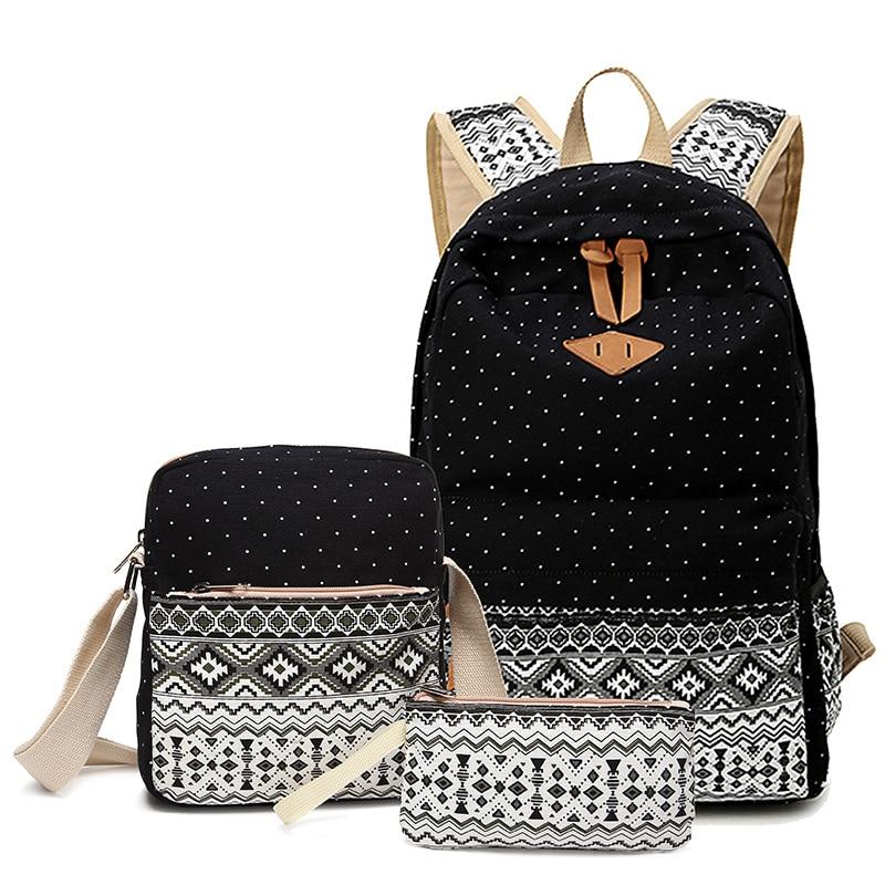 3 PCS Set Stylish Canvas Printing Backpack Women School Bags for Teenage Girls Cute Bookbags Laptop