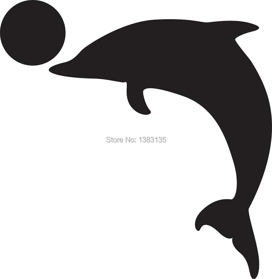 silhueta de um golfinho withg uma bola etiqueta da janela do carro