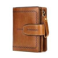 RFID подлинный кожаный женский кошелек карамельного цвета женский короткий кошелек для леди