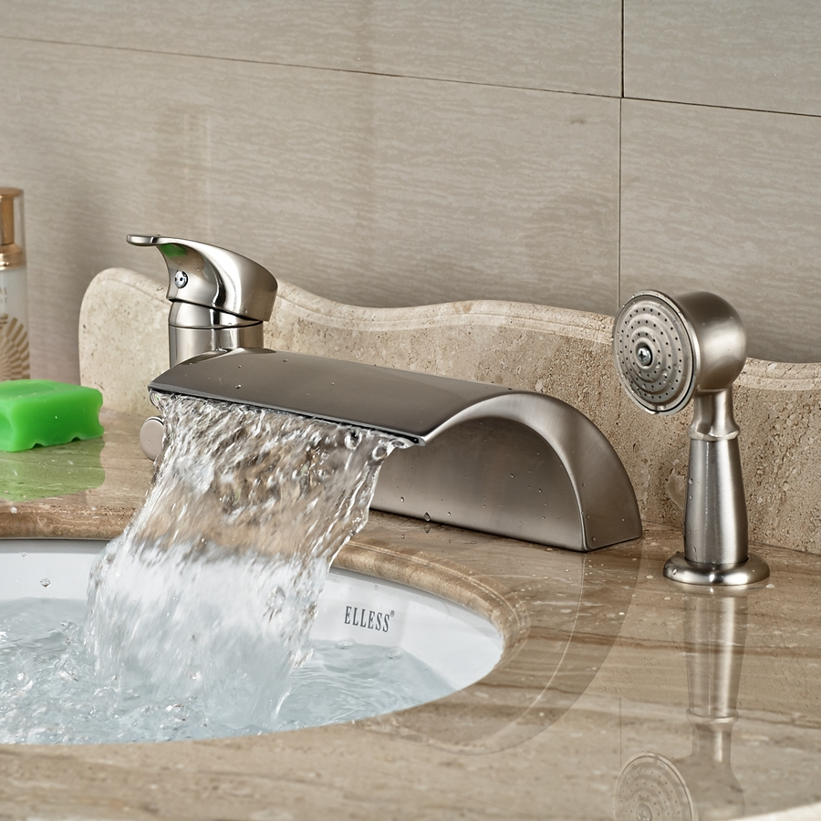 Wholesale And Retail Promotion Luxury Nickel Brushed Roman Waterfall Spout W/ Diverter Hand Shower Sprayer Tap wholesale and retail promotion modern roman waterfall spout bathroom tub faucet hand shower sprayer mixer tap