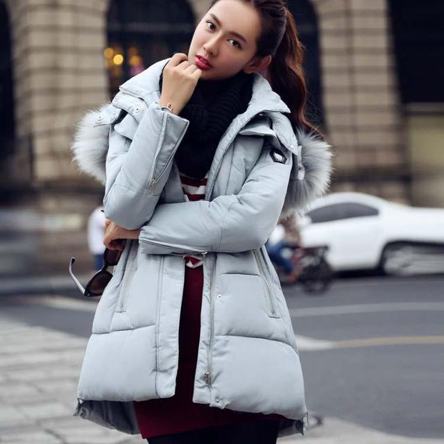 Mulheres Jaqueta de inverno Gola De Pele Artificial Com Capuz Grosso Parka Casaco Para Baixo Para O Inverno Feminino TOP