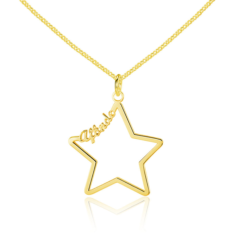 Stainless steel jewelry custom name necklace for women ladies personalized gold hollow star nameplate pendant necklace in Pendant Necklaces from Jewelry Accessories