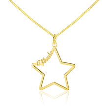 лучшая цена Stainless steel jewelry custom name necklace for women ladies personalized gold hollow star nameplate pendant necklace