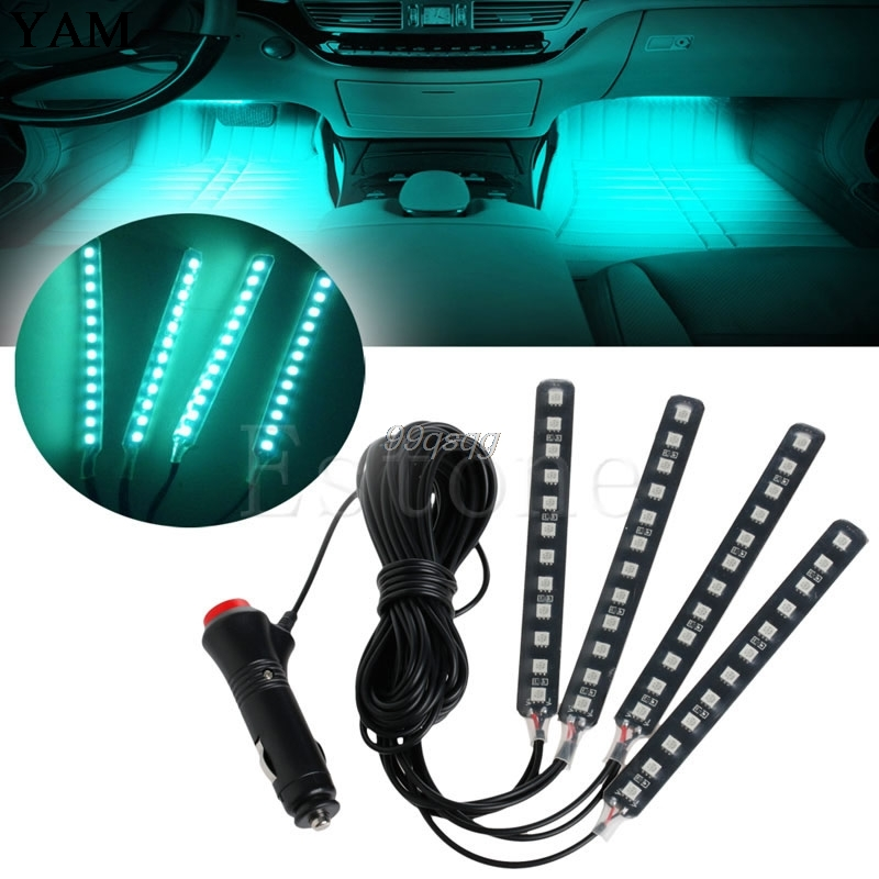 Ice Blue 4x12LED Car Interior Light Atmosphere Decorative Neon Lamp Strips New Drop shipping