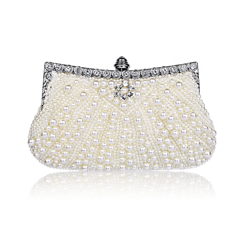 Women's Elegant Evening Clutch with Faux Pearl with Rhinestone, Handbag with Removable Shoulder Chain dancer feather faux pearl waist belt chain