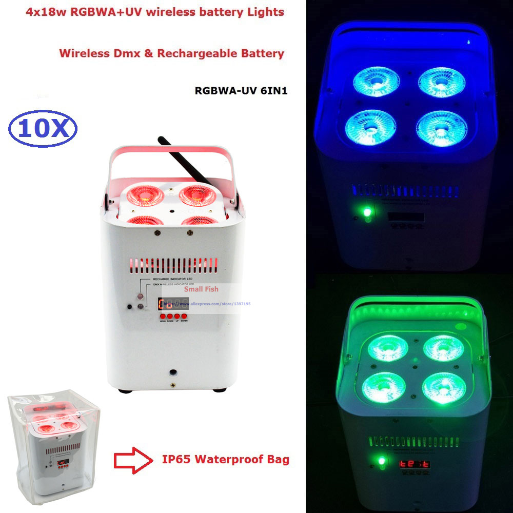 10Pcs / Lot Sleva Cena 4X18W 6IN1 RGBWA-UV LED Bezdrátový DMX Bateriově napájený efektový paprsek s IR dálkovou rychlou expedicí