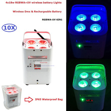 10Pcs/Lot Discount Price 4X18W 6IN1 RGBWA-UV LED Wireless DMX Battery Powered Effect Light With IR Remote Fast Shipping
