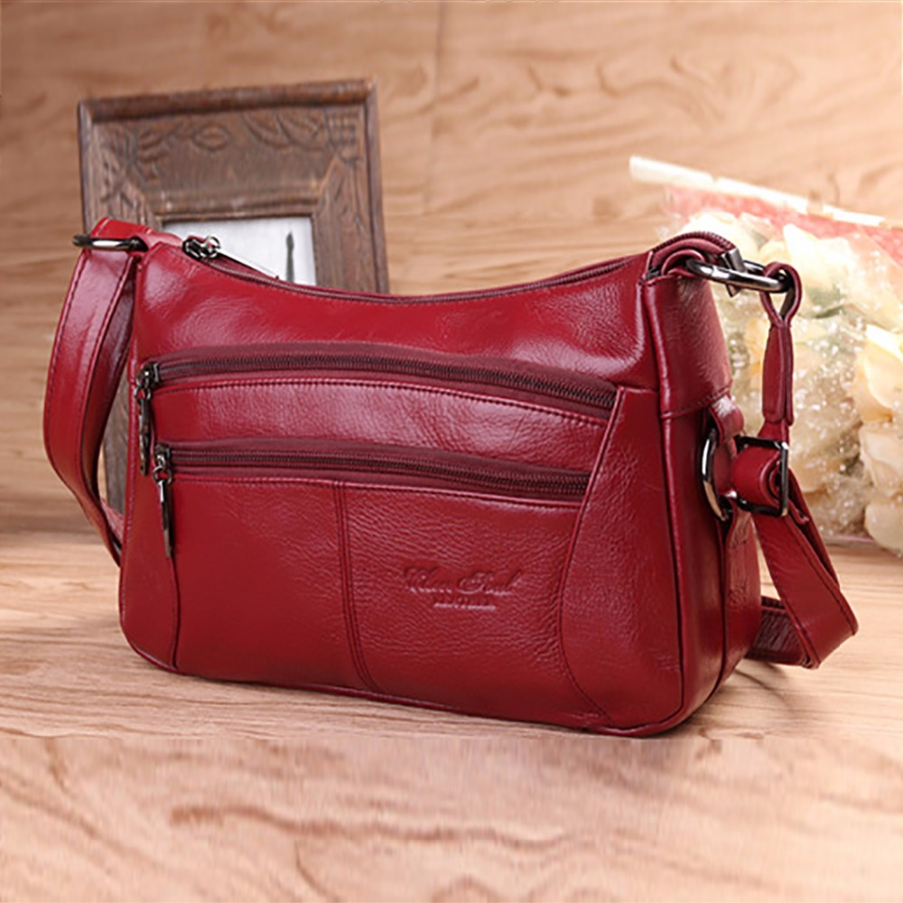 100 Genuine Leather font b Women b font Messenger Sling Shoulder font b Bag b font