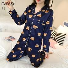 Caiyier Langarm Silk Pyjamas Set Cute Bear Print Nachtwäsche 2019 Neue Plus Größe 5XL Frühling Frauen Nachthemd Casual Hause clother