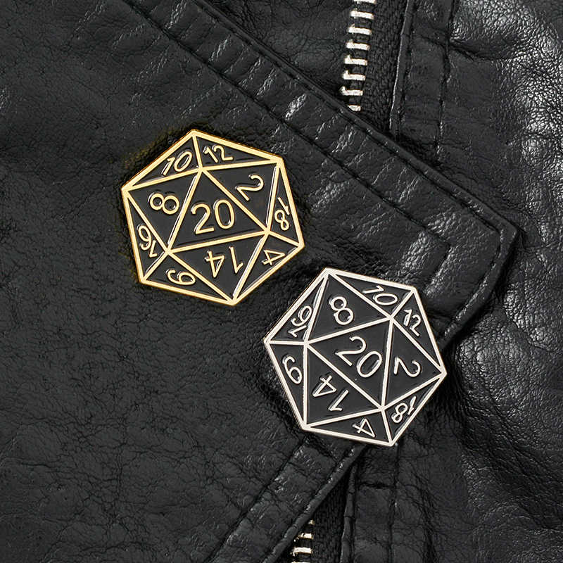 Vinte-Sided Die Pin Broches de Dungeons And Dragons D20 table-top Lapela pinos Emblemas Do Jogo Gaming Acessórios presentes