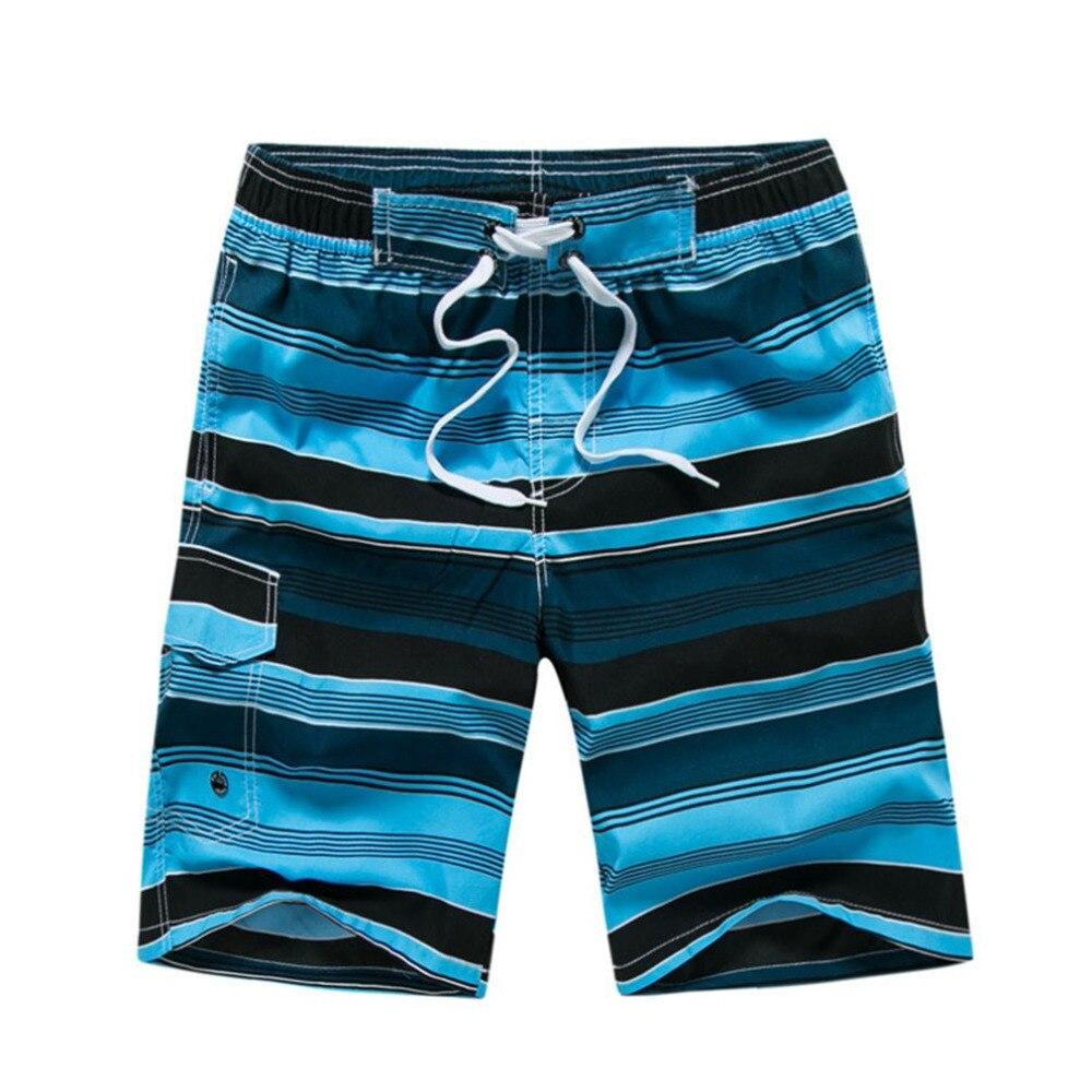 Stripe Beach   Shorts   Pockets & Drawstring Design Casual Loose Summer Mens Seaside   Short   Leisure Hawaiian   Board     Shorts