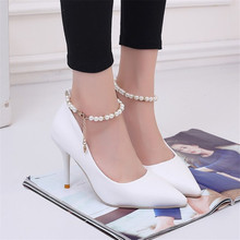 Women Wedding Shoes String Bead Ankle Strap High Heels Solid Color Shoes Chaussures Femme Heels Bridal Shoes Pearl Pumps цены онлайн
