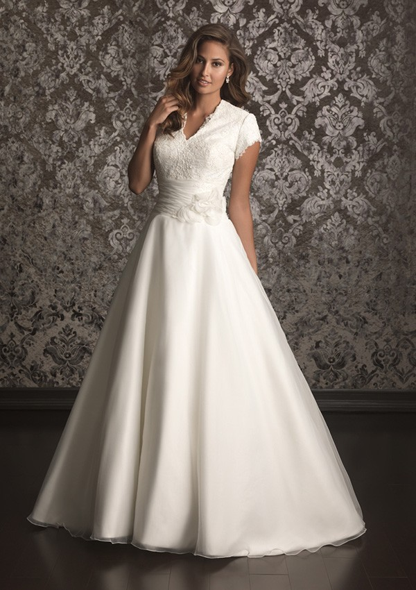 Simple A line Long Modest Wedding Dresses With Cap Sleeves Buttons Back Bridal Gowns V Neck