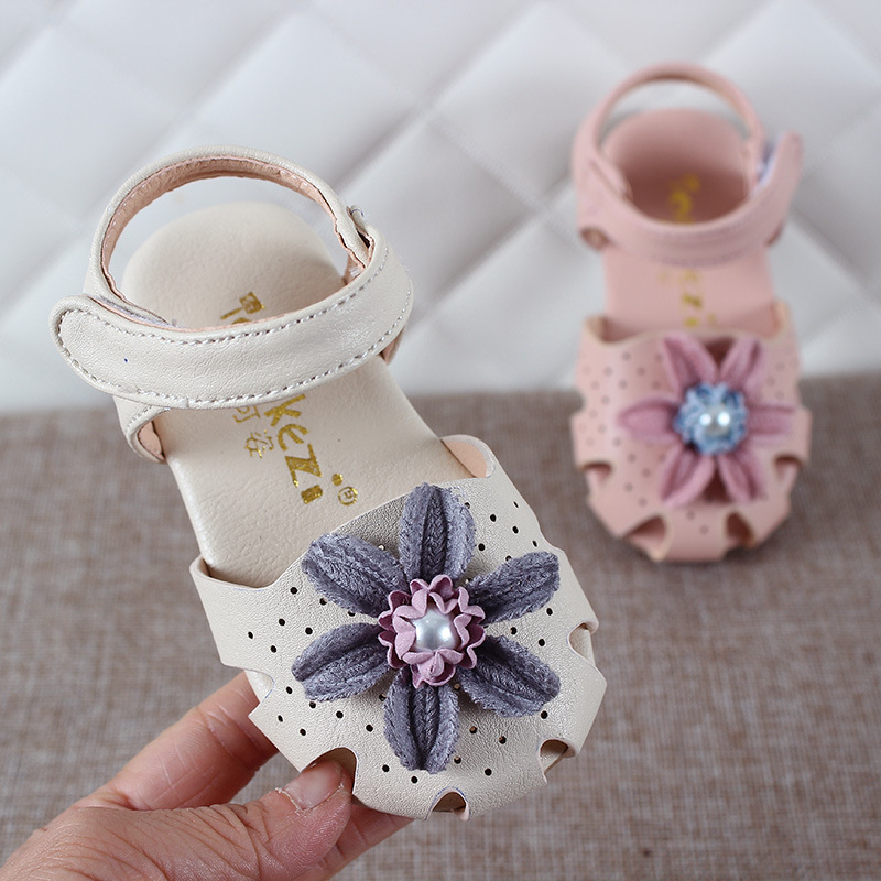 Summer Cool Fashion Toddler Girl Kid Newborn Baby Flower Pearl Sandal Shoes